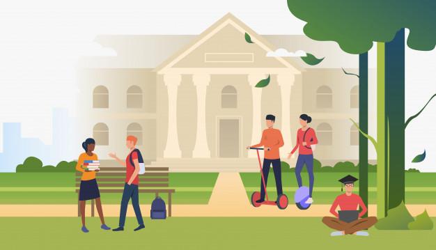 estudiantes caminando conversando parque campus 1262 20689