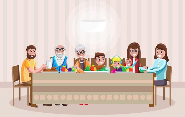 familia alegre dibujos animados cenando 124507 6112