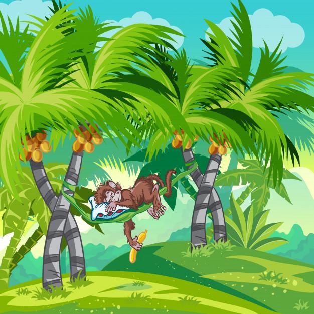 ilustracion infantil selva mono dormido 284645 7