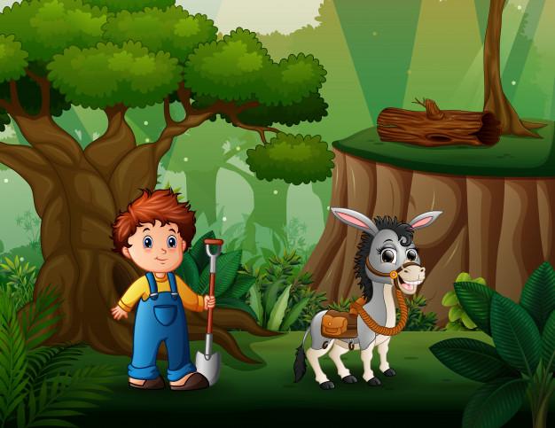 joven agricultor pastoreando burro bosque 43633 9136