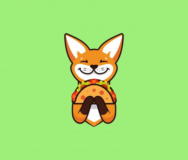 logo gracioso zorro come taco lindo astuto personaje dibujos animados logotipo alimentos 167235 155